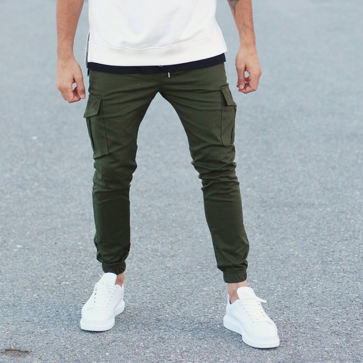 Casual Street Pants with Large Side-Pockets in Khaki Mv Premium Brand - 2
