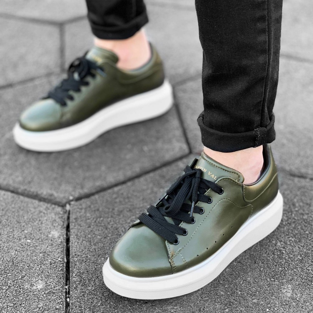 Hype Sole Sneakers in Khaki-White - 2