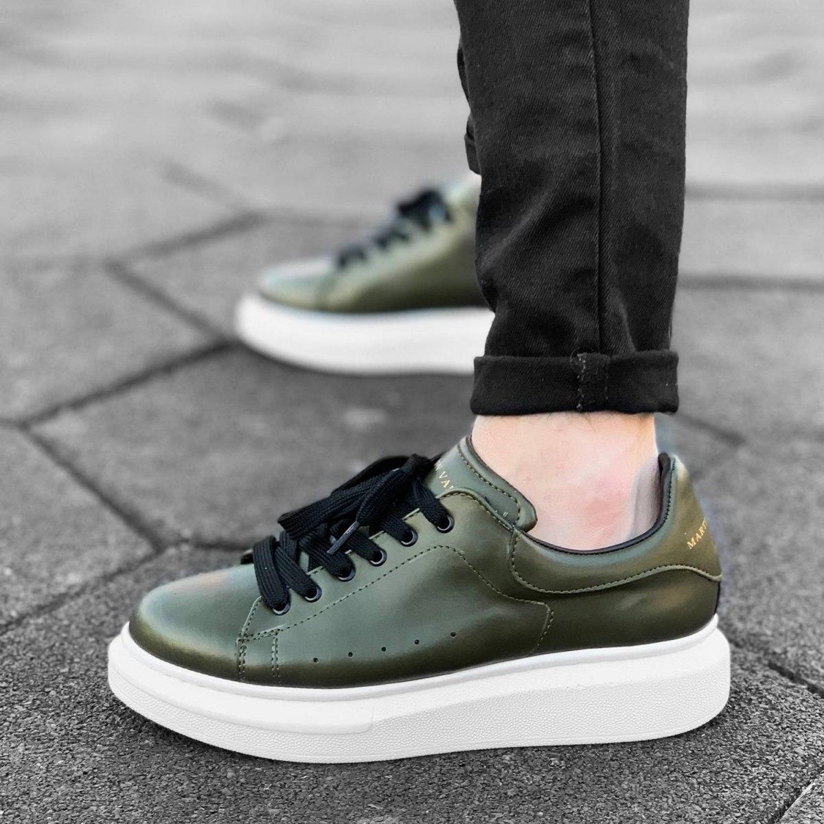 Hype Sole Sneakers in Khaki-White - 4