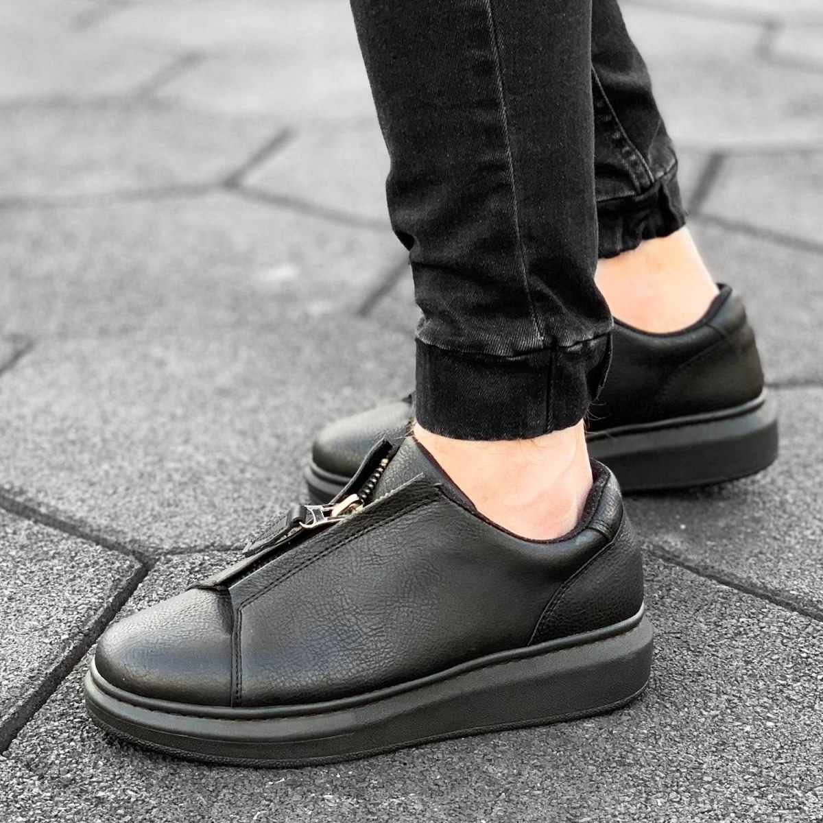 Zip-Up Sneakers in Black