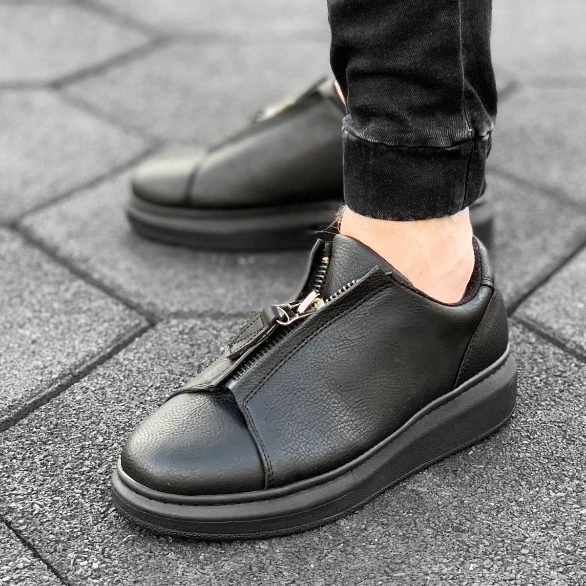 Zip-Up Sneakers in Black