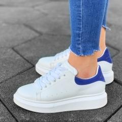 Martin Valen Women High Sole Sneakers White&Blue - 2