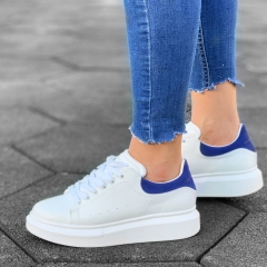 Martin Valen Women High Sole Sneakers White&Blue - 3