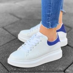 Martin Valen Women High Sole Sneakers White&Blue - 4