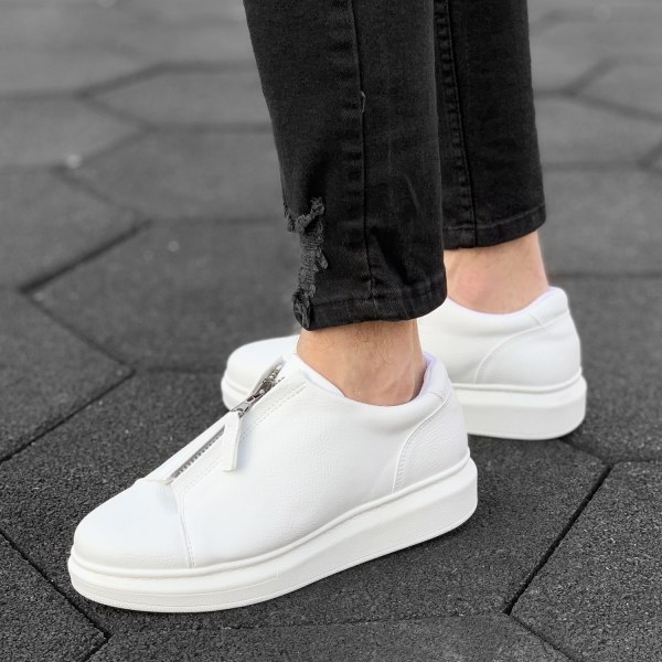 Zip-Up Sneakers in White