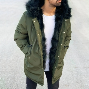 Men's Winter Furry Puffy Coat Khaki Mv Premium Brand - 1