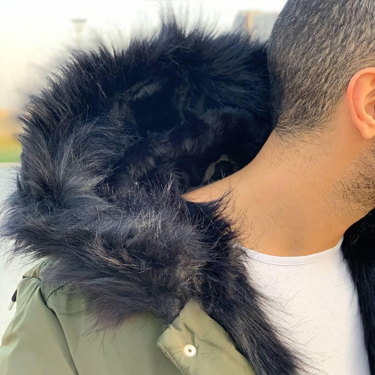 Men's Winter Furry Puffy Coat Khaki Mv Premium Brand - 2