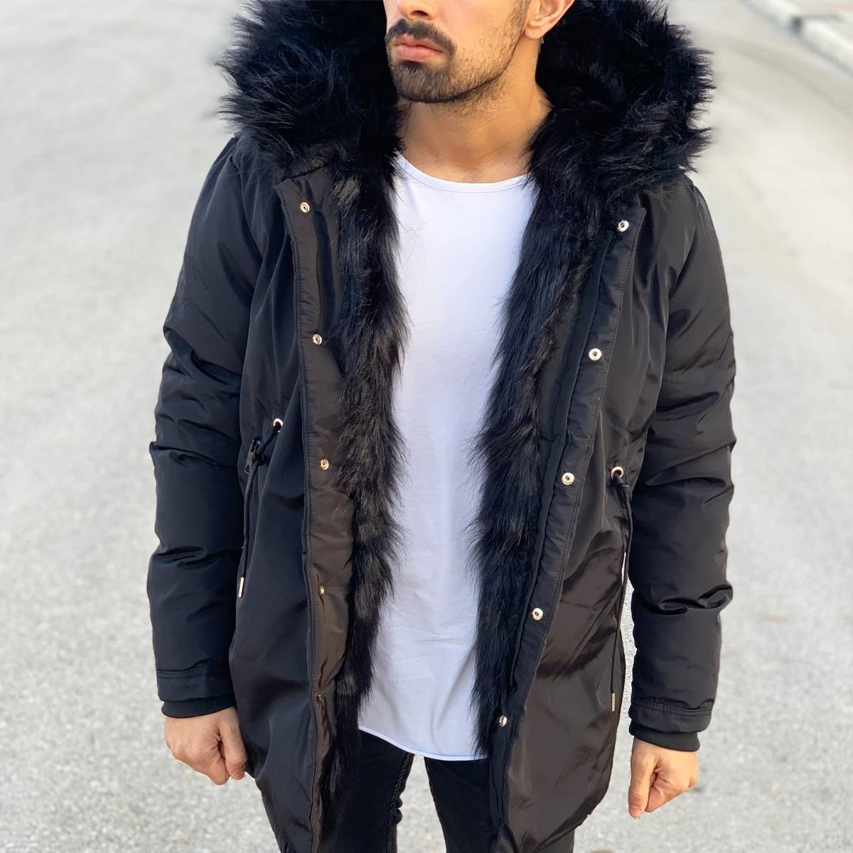 Winter Furry Puffy Coat Black