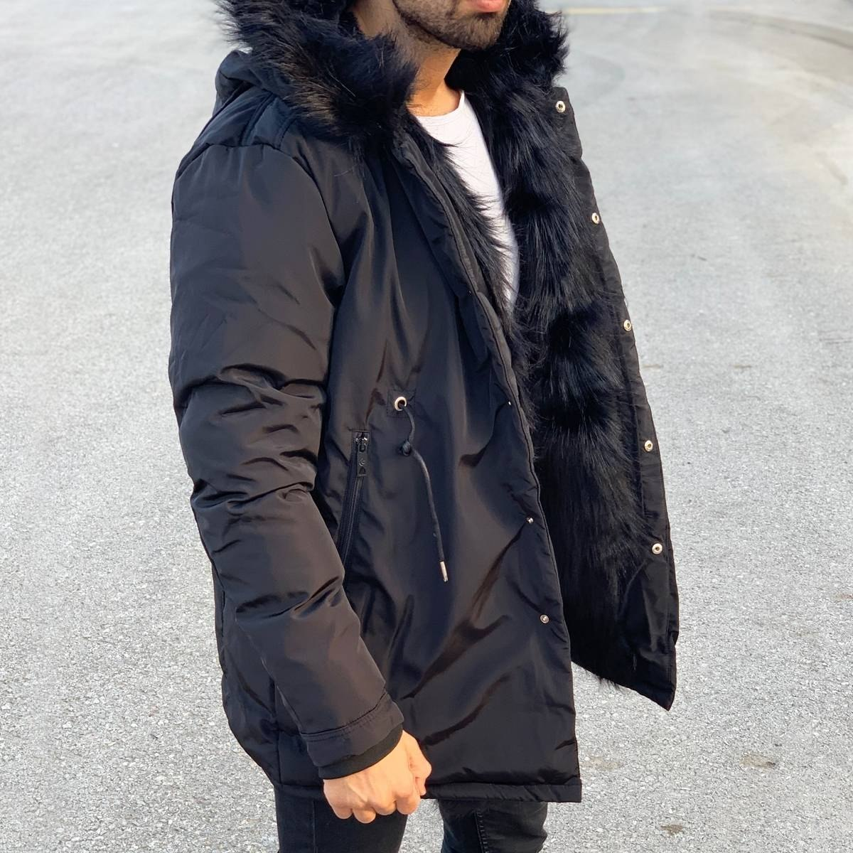 Winter Furry Puffy Coat Black Mv Premium Brand - 7
