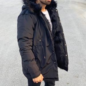 Winter Furry Puffy Coat Black Mv Premium Brand - 7