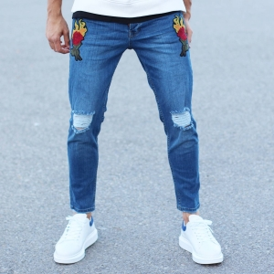 Men's Rose Embroidery Ripped Knee Jeans In Blue Mv Premium Brand - 1