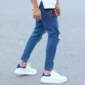 Men's Rose Embroidery Ripped Knee Jeans In Blue Mv Premium Brand - 3