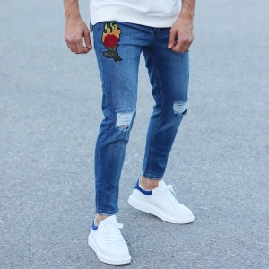 Men's Rose Embroidery Ripped Knee Jeans In Blue Mv Premium Brand - 4