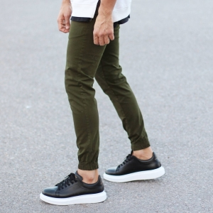Men's Gabardine Casual Pants In Khaki Mv Premium Brand - 1