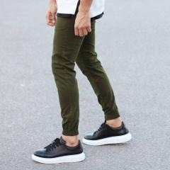 Men's Gabardine Casual Pants In Khaki Mv Premium Brand - 1