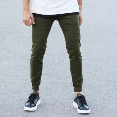Men's Gabardine Casual Pants In Khaki Mv Premium Brand - 2