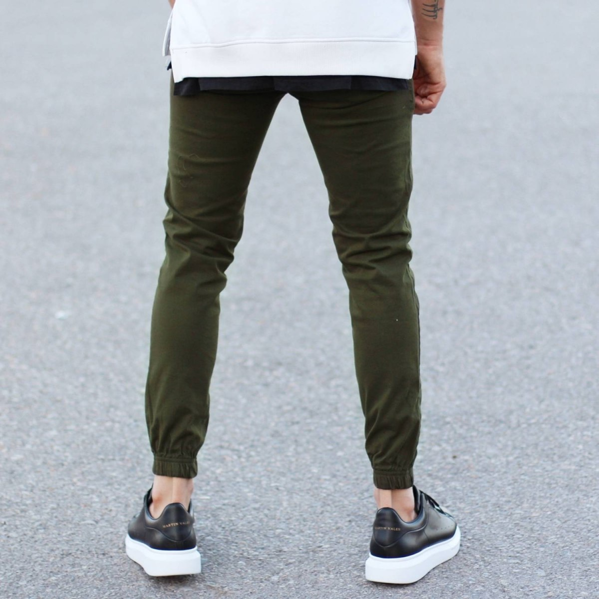 Men's Gabardine Casual Pants In Khaki Mv Premium Brand - 3