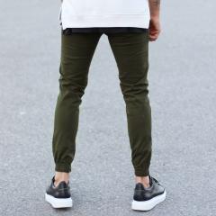 Men's Gabardine Casual Pants In Khaki Mv Premium Brand - 3