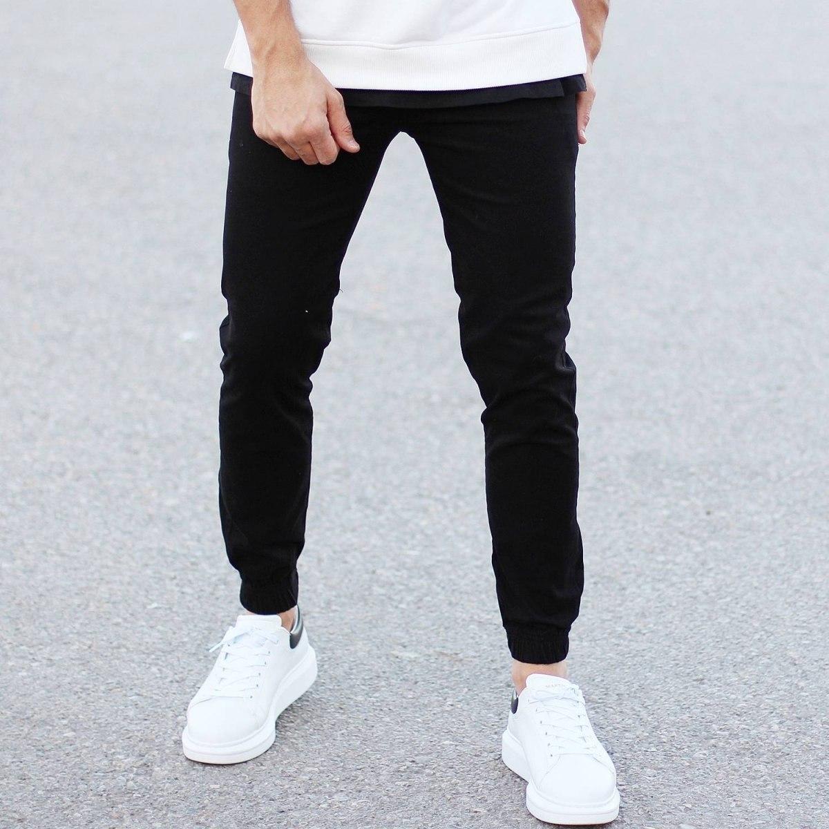 Men's Gabardine Casual Pants In Black Mv Premium Brand - 2