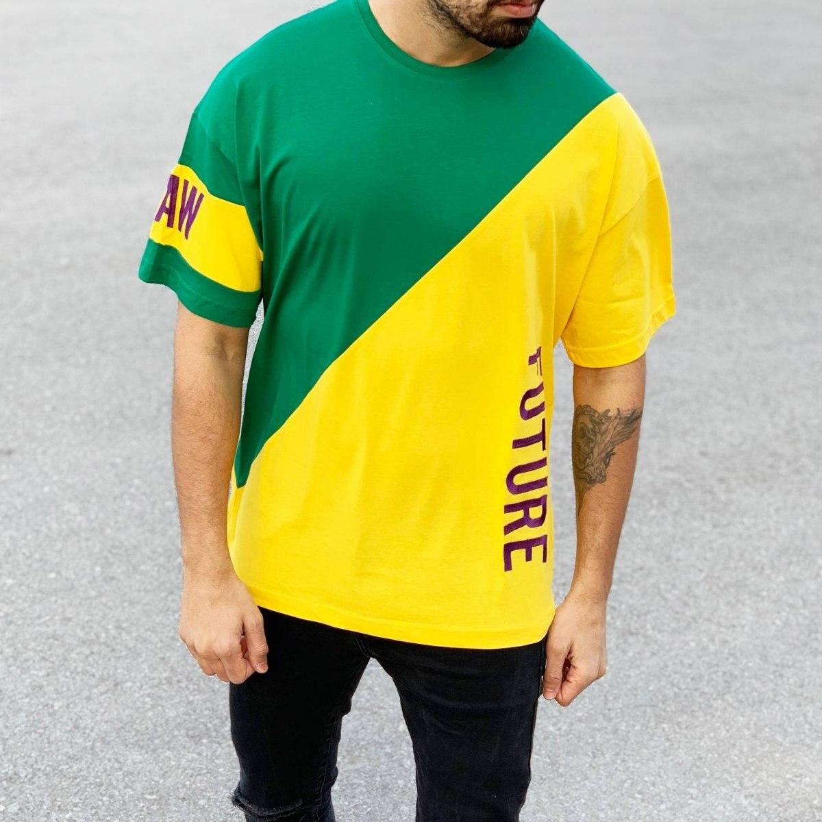 Men's Oversized Future T-Shirt Green&Yellow