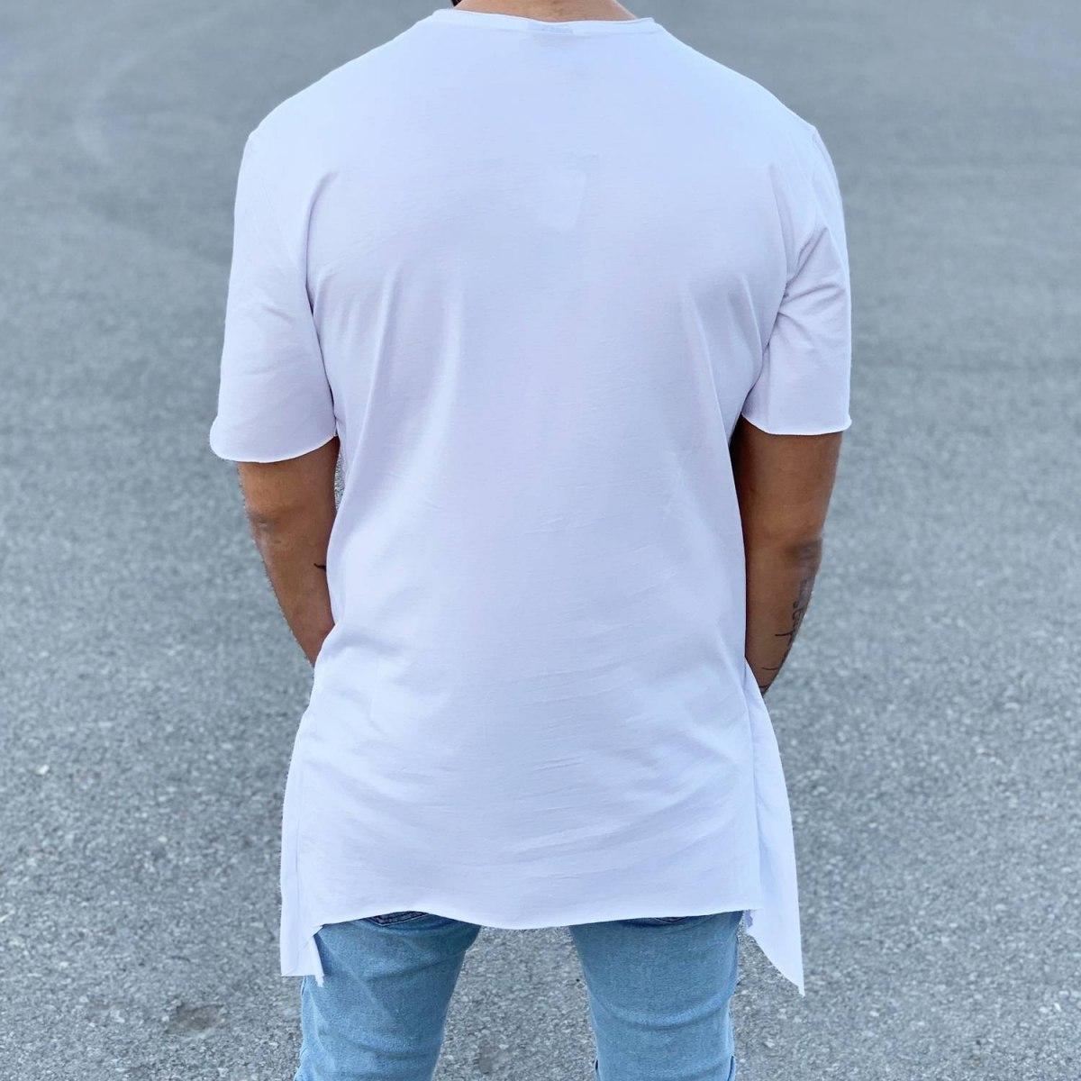 Men's Long Cross Line T-Shirt White Mv Premium Brand - 1