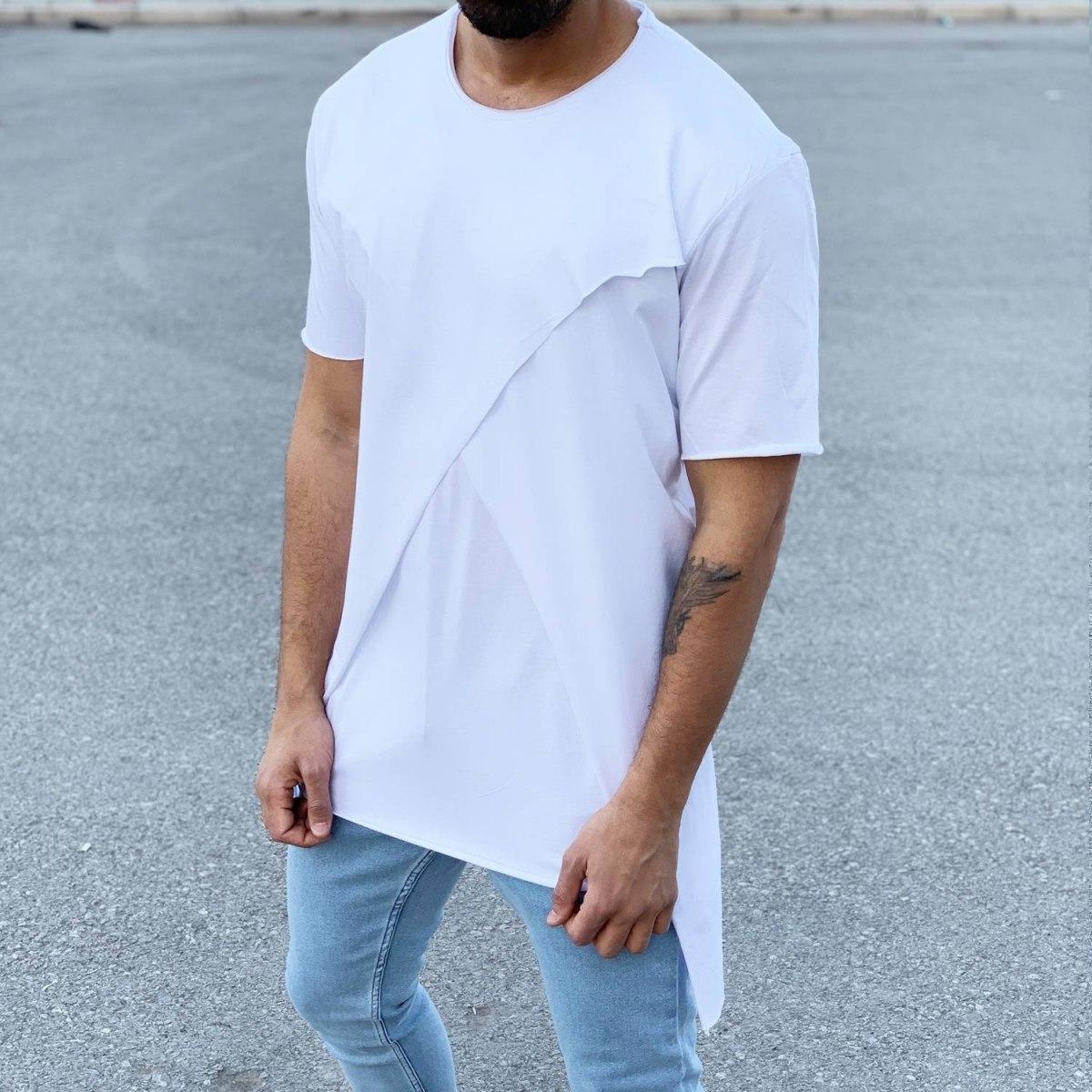Men's Long Cross Line T-Shirt White Mv Premium Brand - 2