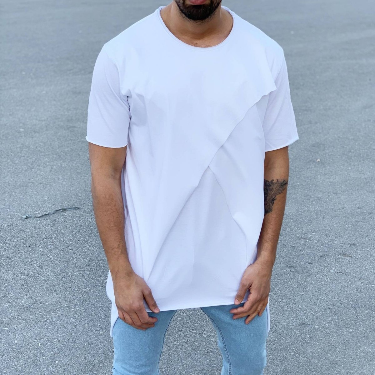 Men's Long Cross Line T-Shirt White