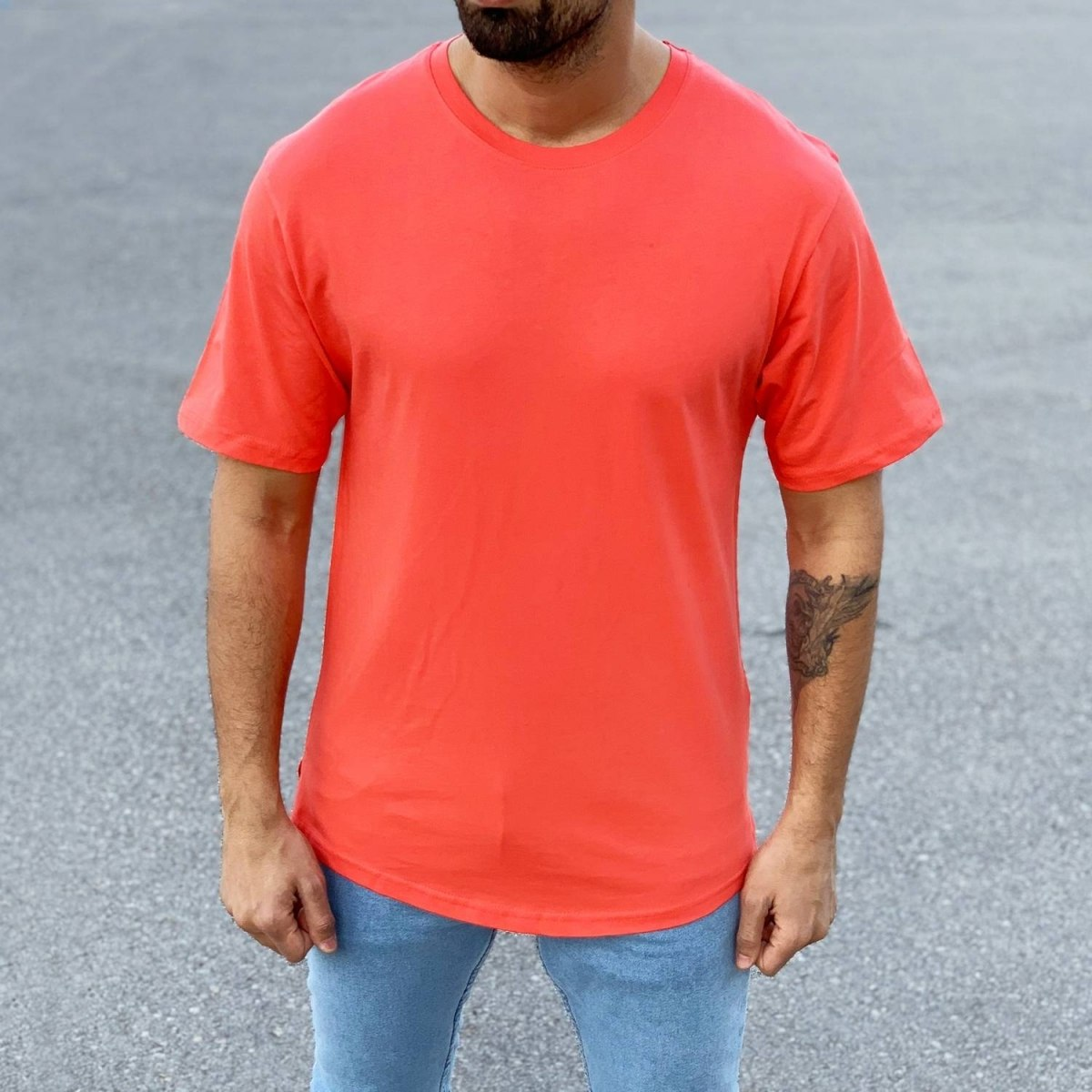 Men's Basic Round Neck T-Shirt In New Red Mv Premium Brand - 1