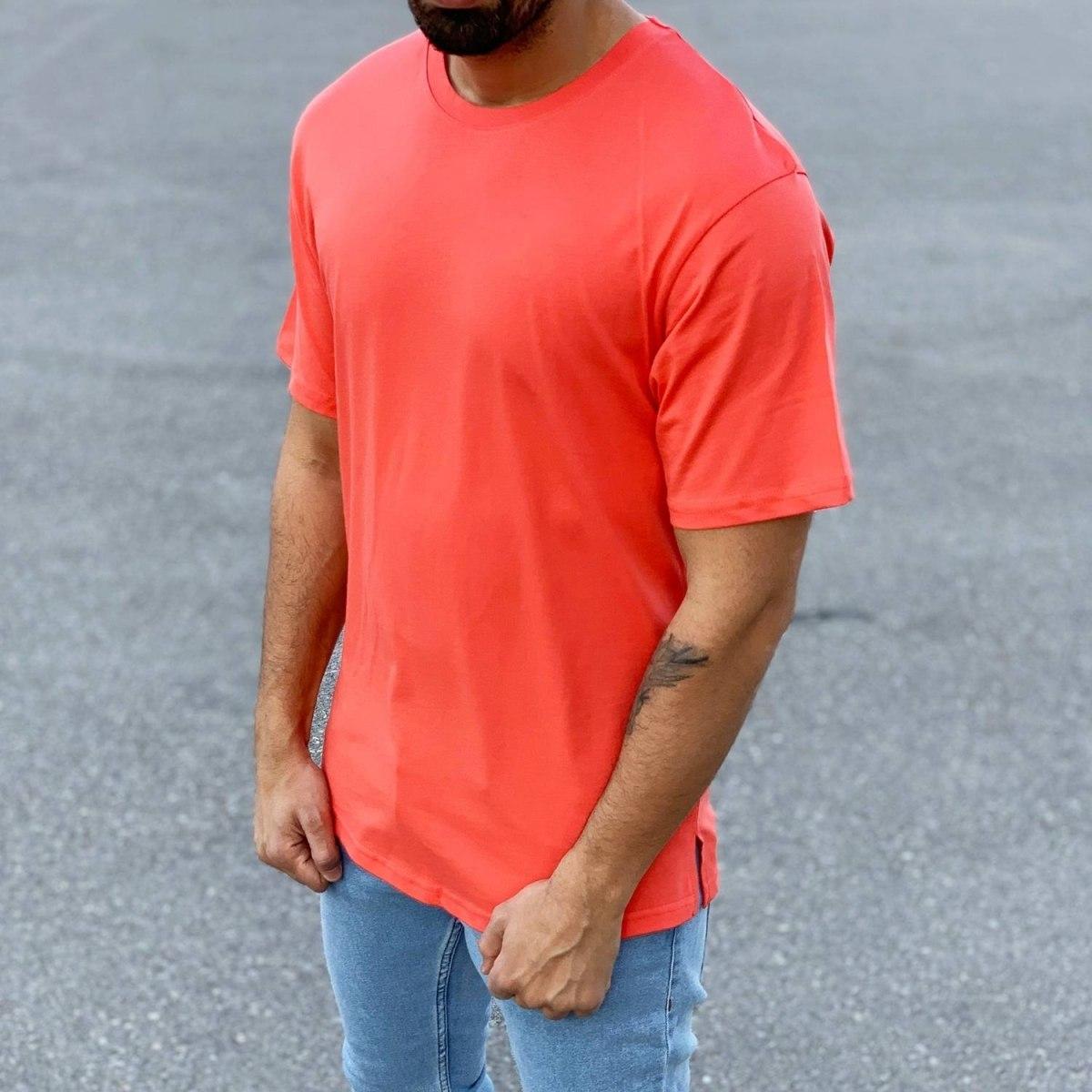 Men's Basic Round Neck T-Shirt In New Red Mv Premium Brand - 2