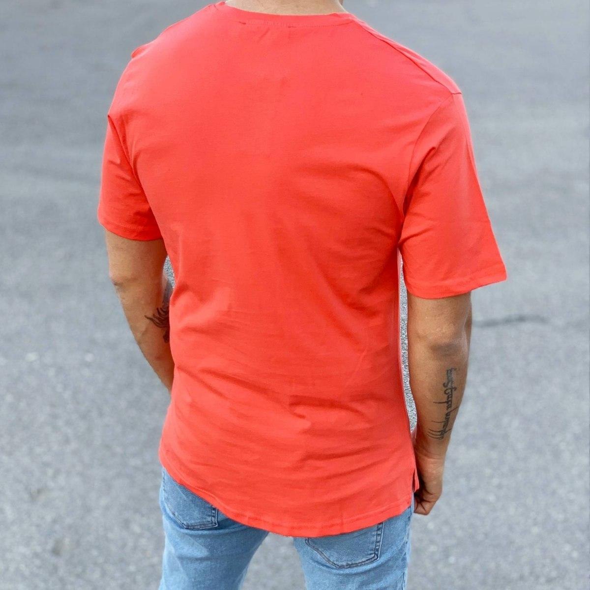 Men's Basic Round Neck T-Shirt In New Red Mv Premium Brand - 3