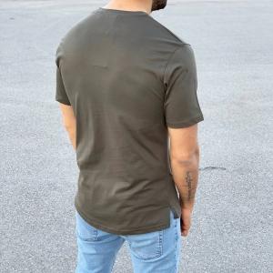 Men's Basic Round Neck T-Shirt In New Khaki Mv Premium Brand - 1