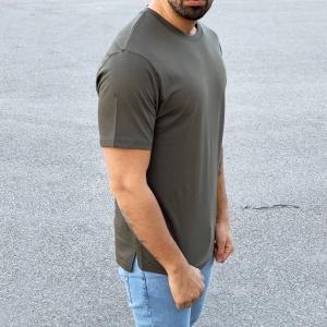 Men's Basic Round Neck T-Shirt In New Khaki Mv Premium Brand - 2