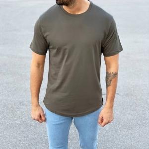 Men's Basic Round Neck T-Shirt In New Khaki Mv Premium Brand - 3