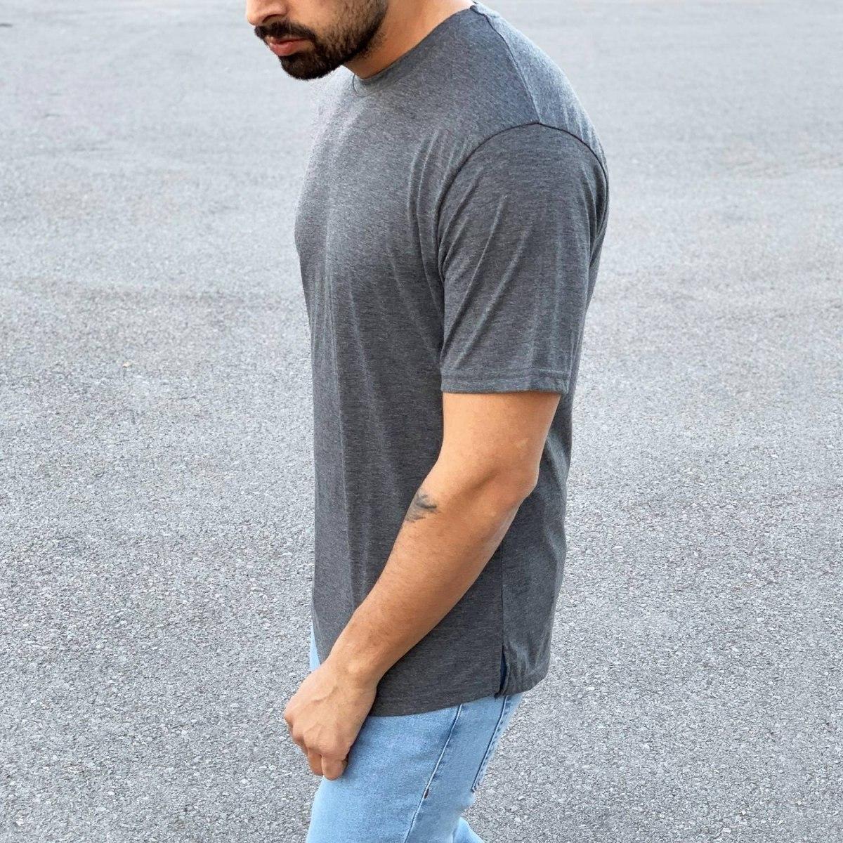 Men's Basic Round Neck T-Shirt In New Gray Mv Premium Brand - 1