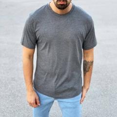 Men's Basic Round Neck T-Shirt In New Gray Mv Premium Brand - 2