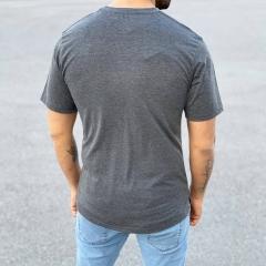 Men's Basic Round Neck T-Shirt In New Gray Mv Premium Brand - 3