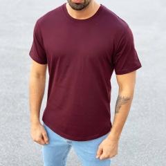 Men's Basic Round Neck T-Shirt In Claret Red Mv Premium Brand - 1