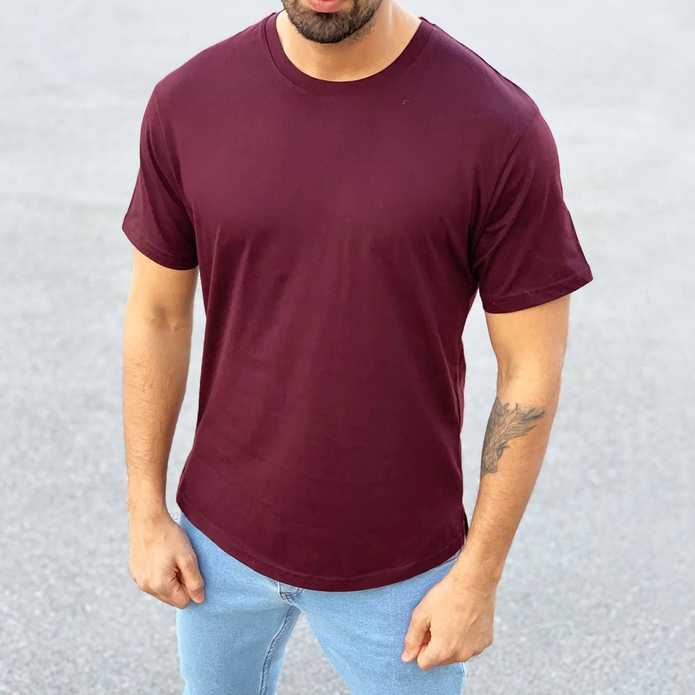 men s basic round neck t shirt in claret red men s basic round neck t shirt in claret red