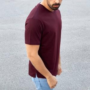 Men's Basic Round Neck T-Shirt In Claret Red Mv Premium Brand - 2
