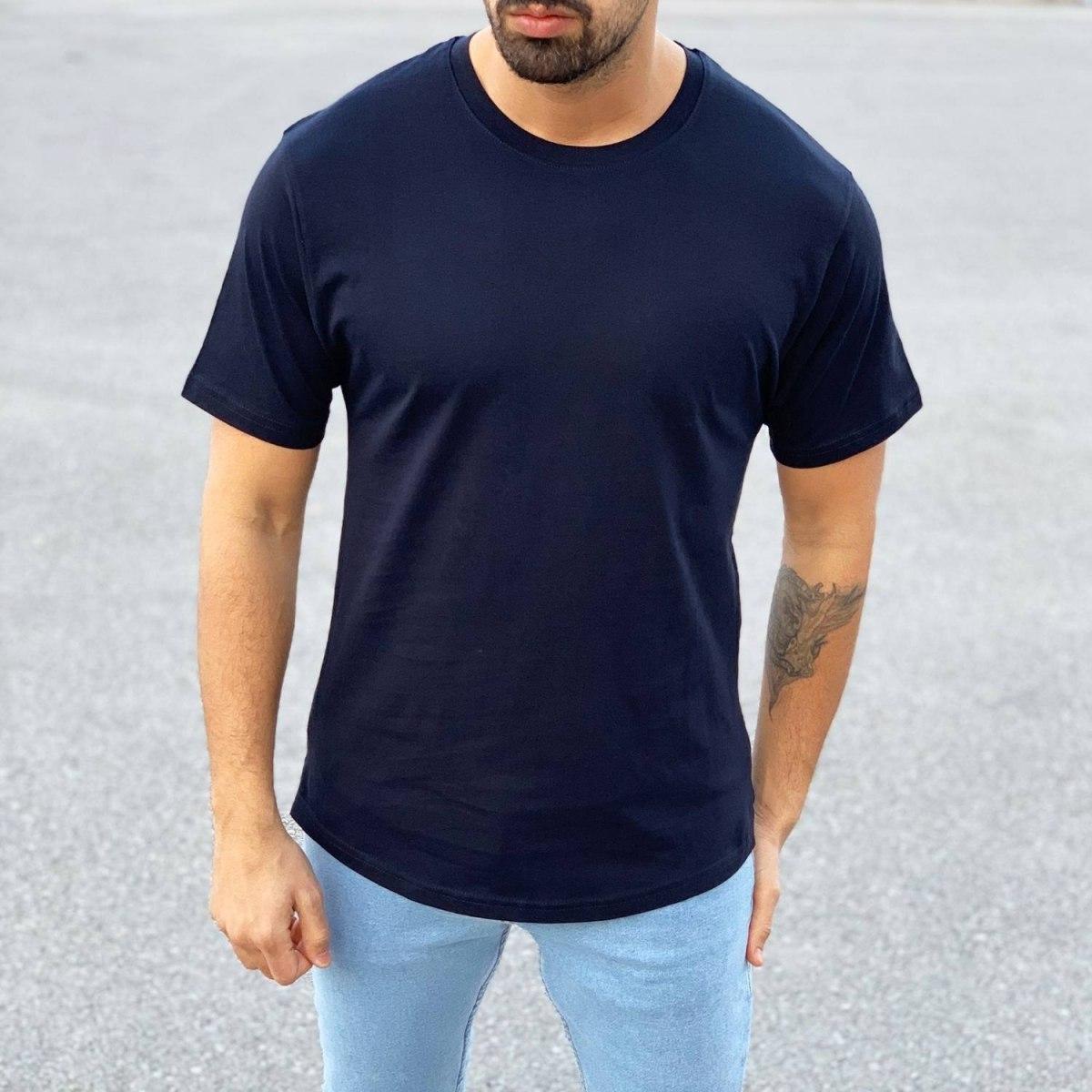 Men's Basic Round Neck T-Shirt In New Navy