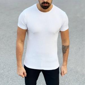 Men's Fit Cut Basic T-Shirt In White Mv Premium Brand - 1