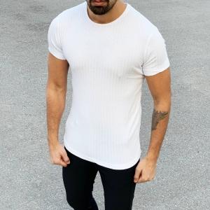 Men's Fit Cut Basic T-Shirt In White Mv Premium Brand - 2