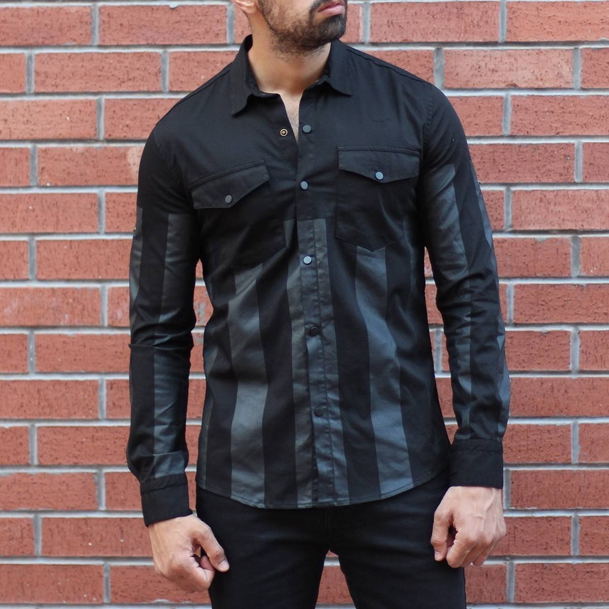 Men's Slim Fit Shirt With Pockets In Black&Gray MV Shirt Collection - 2