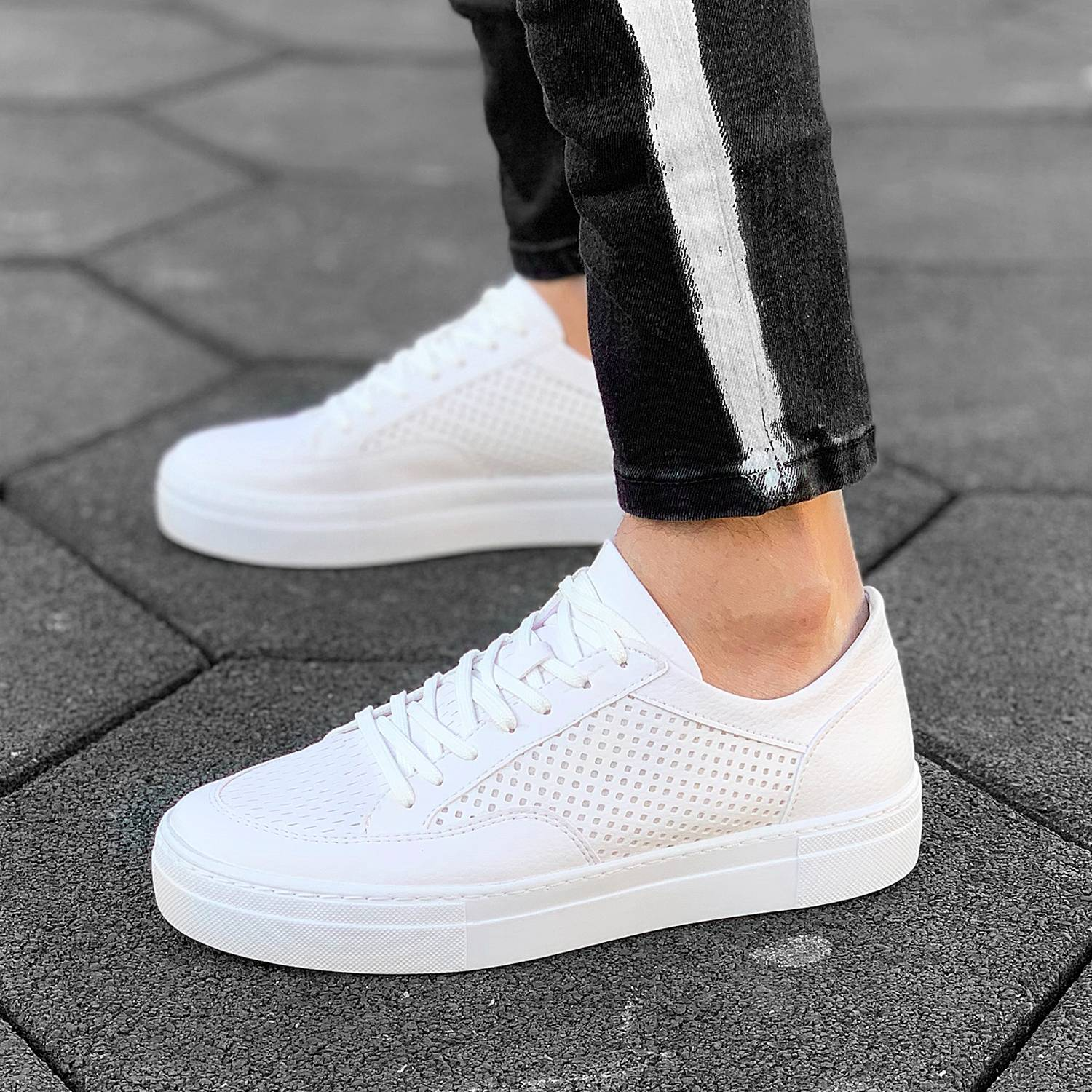 Men's New Stylish Dotted Sneakers White