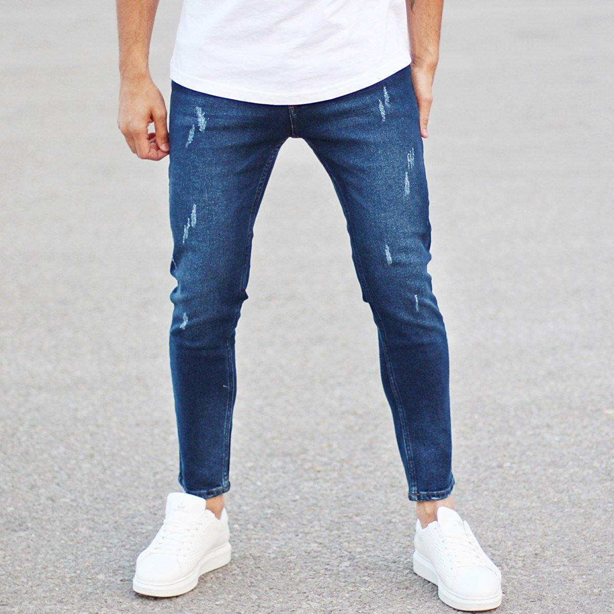 Men's Fashion Jeans With Rips Dark Blue