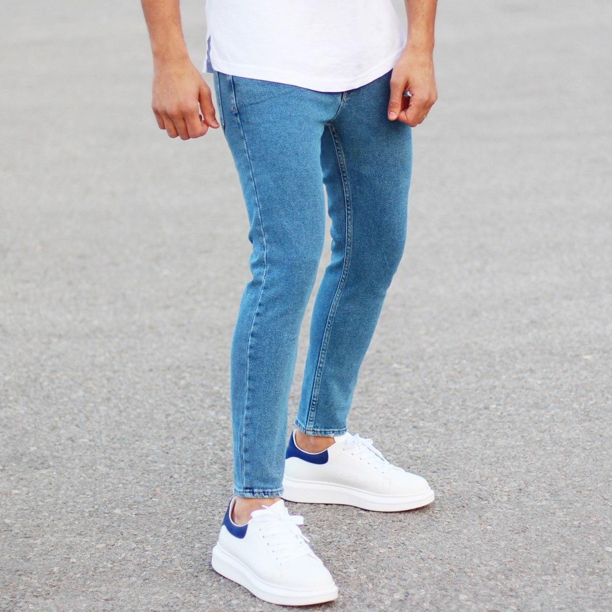 Men's Basic Fit Jeans In Blue Mv Premium Brand - 2