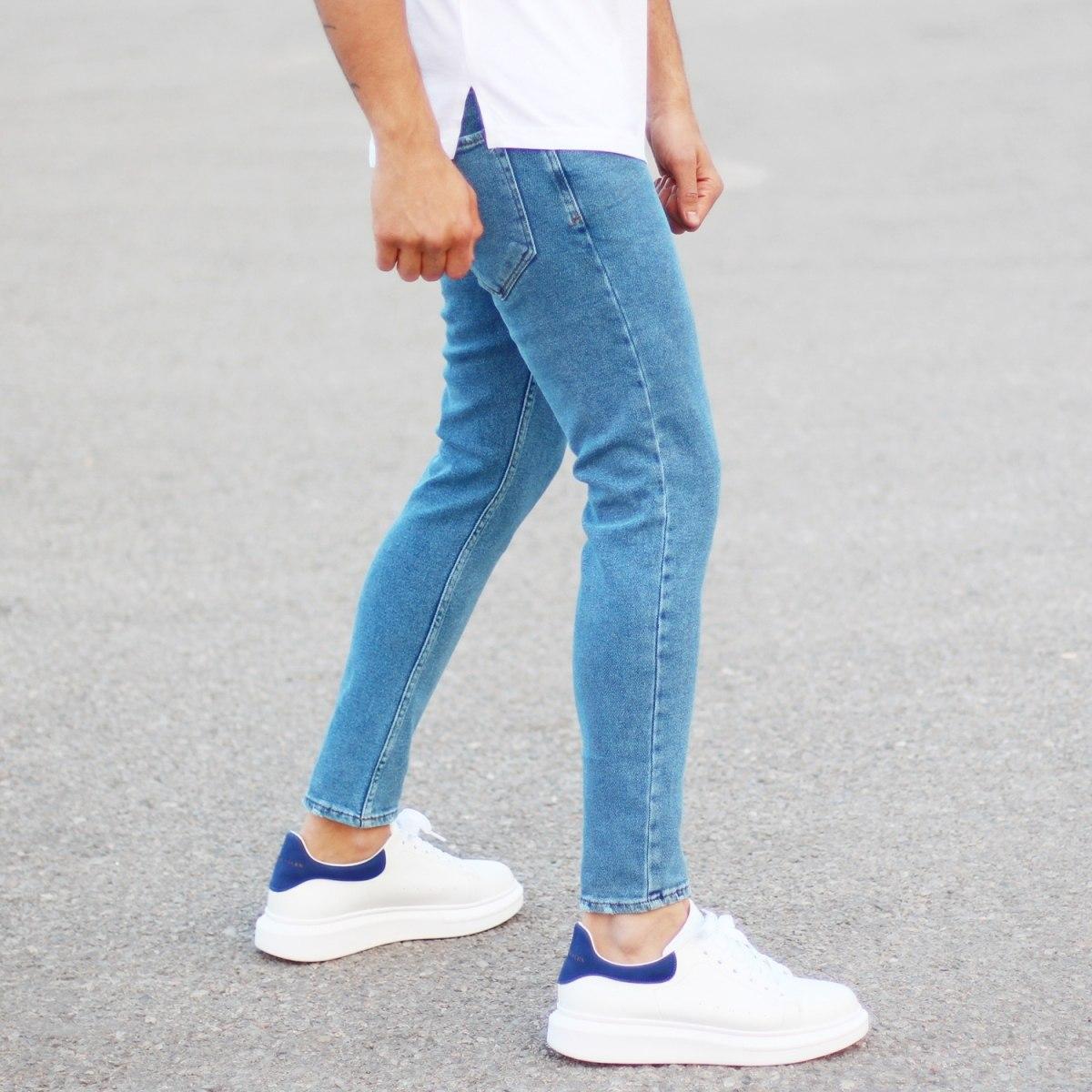 Men's Basic Fit Jeans In Blue Mv Premium Brand - 3