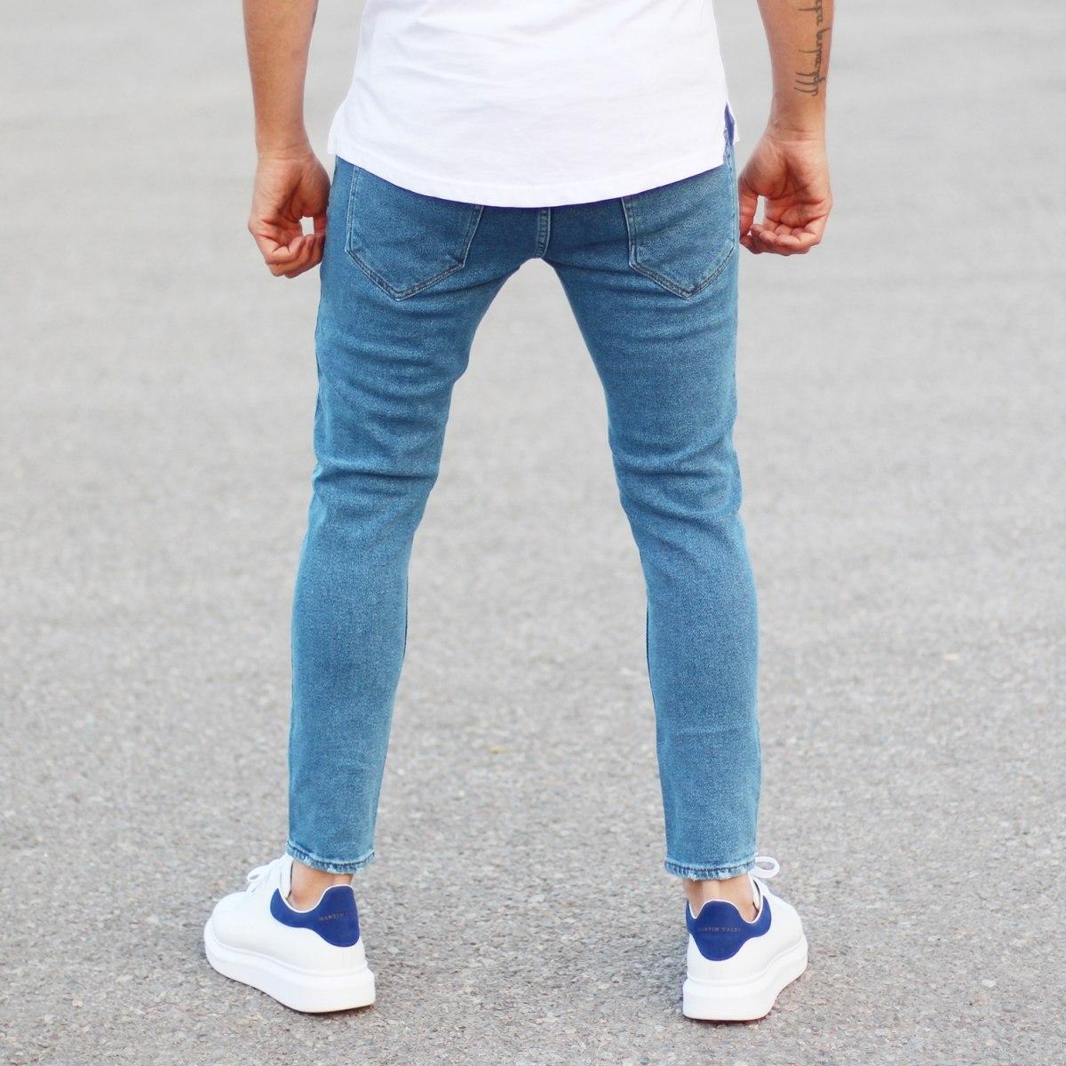 Men's Basic Fit Jeans In Blue Mv Premium Brand - 4