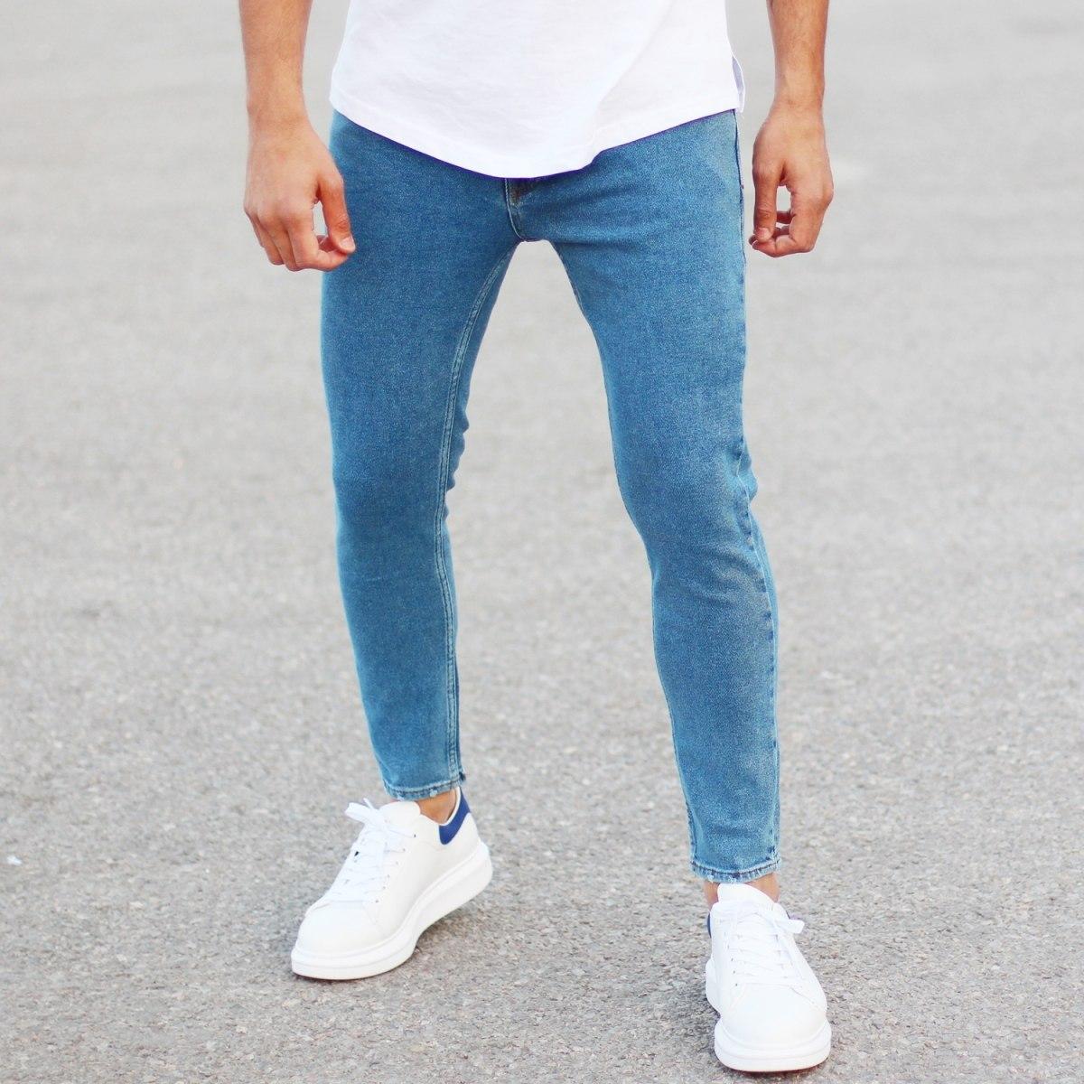 Men's Basic Fit Jeans In Blue Mv Premium Brand - 5