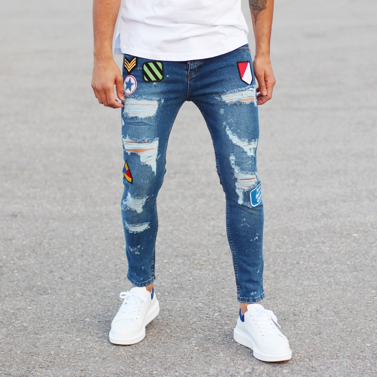 Men's Patchwork Jeans With Heavy Rips Blue